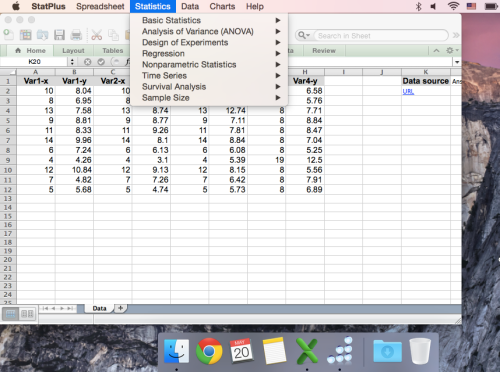 MS Excel statistic analysis