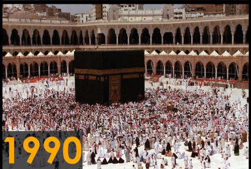 Foto kakbah tahun 1990 (Sumber: Saudi Gazette)