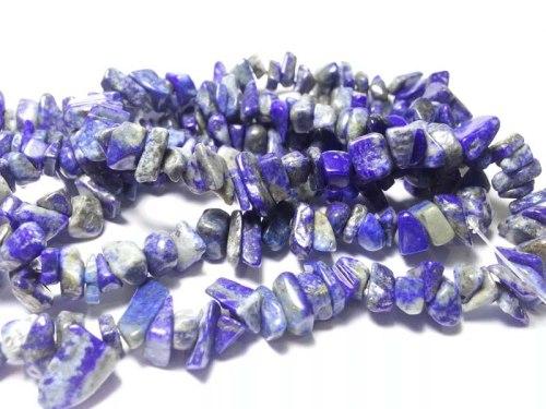 Bahan kerikil lapis jazuli untuk kalung dan gelang. Bahan sudah dilubangi dan dipoles, tinggal diberi tali saja.