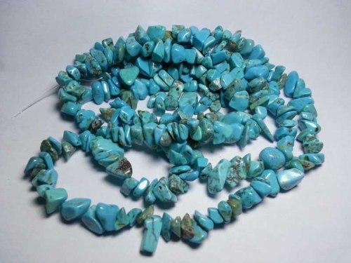 Bahan kerikil pirus (turquoise) untuk kalung dan gelang. Bahan sudah dilubangi dan dipoles, tinggal diberi tali saja.